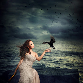 La charmeuse doiseaux by Nathalie Gemy - Digital Art People ( woman, romantic, black bird, dramatic sky, seascape, birds )