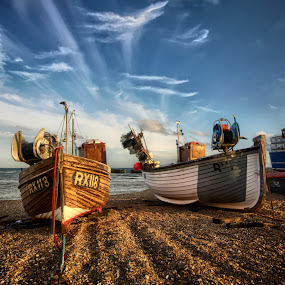 RX118 by Mark Leader - Transportation Boats ( shore, clouds, hdr, sea, beach, seascape, high dynamic range, boat, coast, colour, hanging, sky, rope, sussex, hastings, fishing fleet )