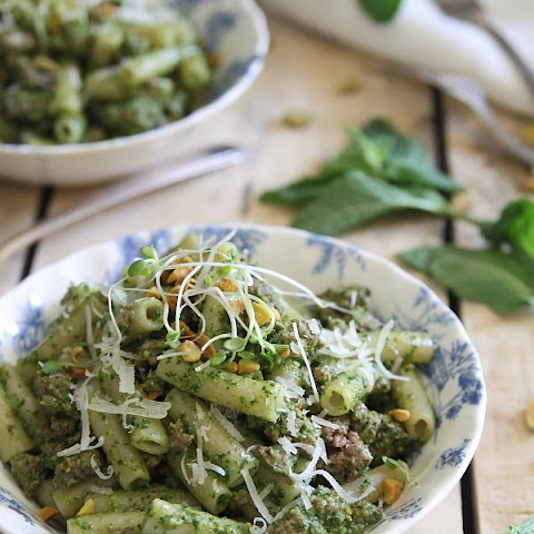 Brown Rice Penne With Lamb And Mint Pesto