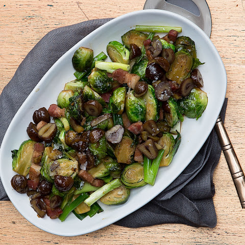 Wok-Fried Brussels Sprouts and Bacon with Crispy Chestnuts