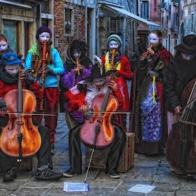 Masquerade by Ljiljana Cviljak - People Musicians & Entertainers ( musicians, carnival, masquerade, venice, mask, italy )