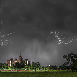 Upwards Lightning  by Stephen Ofsthun - Landscapes Weather ( lightning, thunderstorm, weather, landscape, storm )