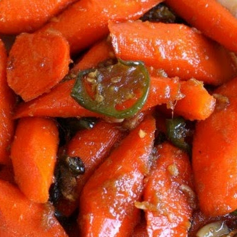 Roasted Ginger Soy Glazed Carrots and Jalapenos