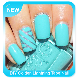 DIY Golden Lightning Tape Nail Art for PC-Windows 7,8,10 and Mac