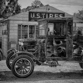 Pit Stops by Elaine Malott - Transportation Automobiles ( trucks, old, black and white, cars, used )