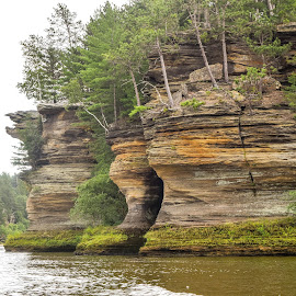 Wisconsin River Sandstone Rock Formation by Jason Lockhart - Landscapes Caves & Formations ( wisconsin, sandstone formation, wisconsin river, canoe trip, rivers edge resort, wisconsin dells )