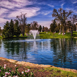 Sky Over the Moody Fountain by Pat Lasley - City,  Street & Park  Cemeteries ( water, sky, fountain, cemetery, tulips )