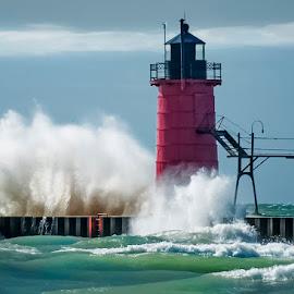 Splash by Jon Kinney - Buildings & Architecture Other Exteriors ( splash, waves, lighthouse,  )