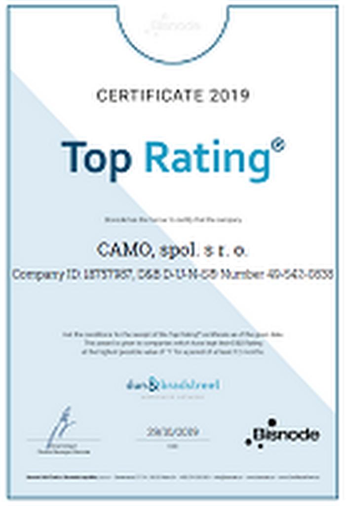 Certifikát Top Rating 2019 udělený Bisnode společnosti Camo