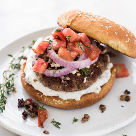 Greek Burger with Tzatziki, Tapenade, and Feta