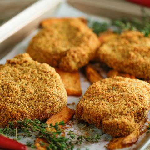 Clodagh McKenna's Crispy Mustard Breaded Pork Chops with Sweet Potato Wedges