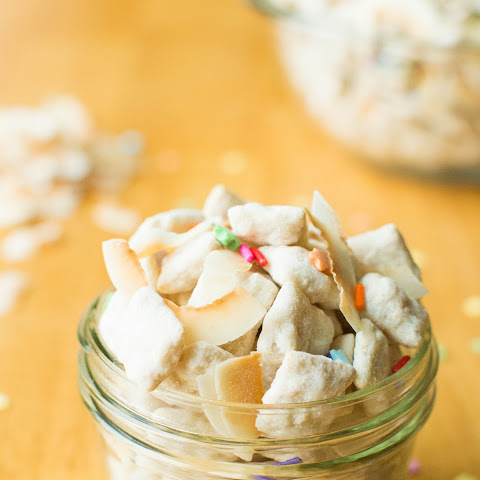 Coconut Cake Batter Puppy Chow