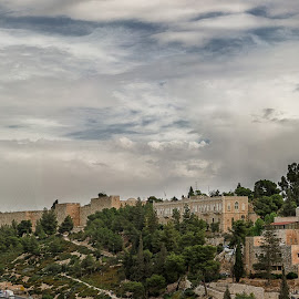 Old City - Jeruslaem by Isaac Gershon - City,  Street & Park  Historic Districts ( clouds, old, urban landscapes, church, mosque, old town, old city, historic district, architecture, cityscape, historic, urban, jerusalem, ancient, city walls, cloud, trees )