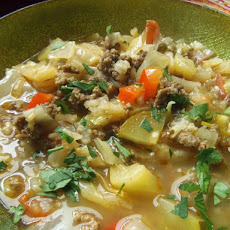 Beef and Cabbage Soup in a Tomatillo Broth