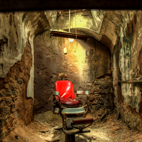 by Chris Cavallo - Buildings & Architecture Decaying & Abandoned ( chair, prison, state, penitentiary, barber, eastern,  )