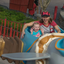 Wheeee by Michael Graham - Babies & Children Children Candids ( ride, girl, amusement park, amusement ride, theme park, disney )