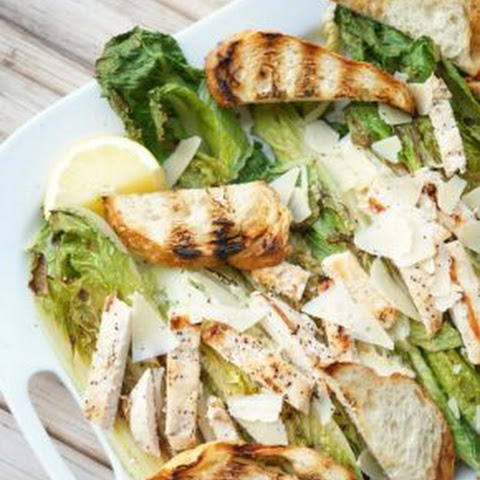 Grilled Romaine Caesar Salad with Asiago Cheese Toast Points