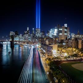 Tribute in Light by Dave Kaplan - City,  Street & Park  Skylines ( holiday, 9/11, manhattan, long exposure, night, bridge, new york, cityscape, nyc, light, panorama, river )