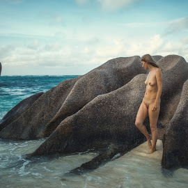 Early morning by Dmitry Laudin - Nudes & Boudoir Artistic Nude ( water, body, nude, figure, girl, woman, tropical, sea, ocean, beach, surf, granite )