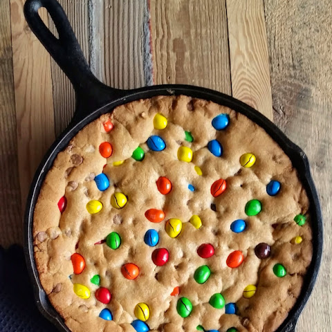 M&M Chocolate Chip Skillet Cookie