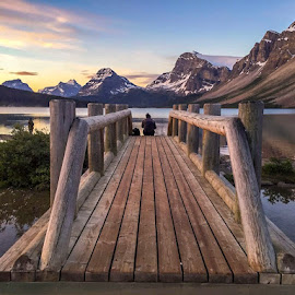 Bow lake by Simran Baidwan - Buildings & Architecture Bridges & Suspended Structures ( mountains sunrise )