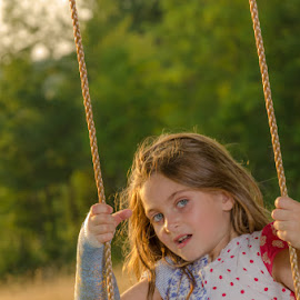 Golden Girl by Chris Cavallo - Babies & Children Child Portraits ( swing, golden hour, girl )