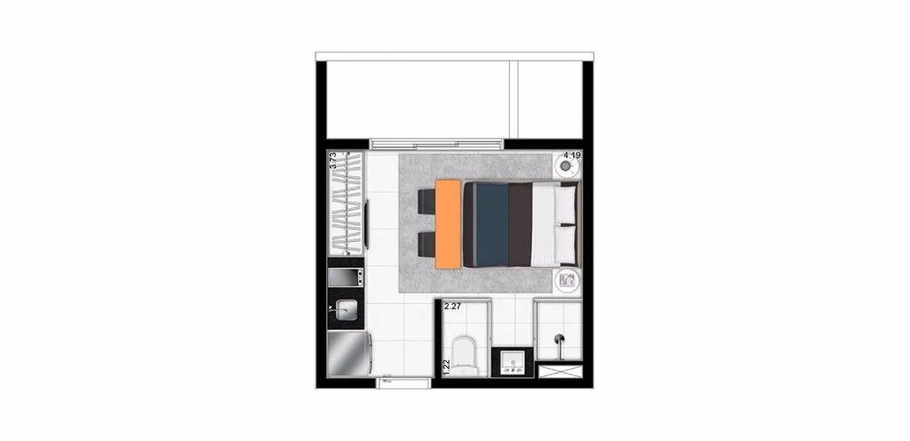 Planta Studio de 18 m²