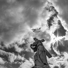 Walk across the sky by Carl Chalupa - Buildings & Architecture Statues & Monuments ( jesus, cemetery, mount hope )