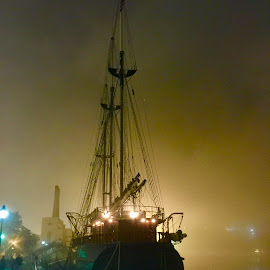 Fogged In' by Dave Feldkamp - Landscapes Weather ( savannah, fog, tall ship, georgia, mist )
