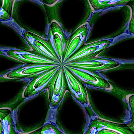 Green Star by Virginia Howerton - Digital Art Abstract ( green, art, star, digital )