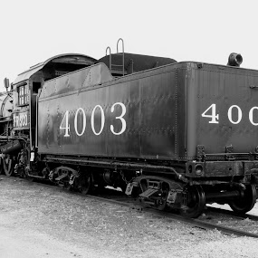 Frisco 4003 by Rick Covert - Black & White Objects & Still Life ( vintage, black and white, locomotive, steam train, arkansas )