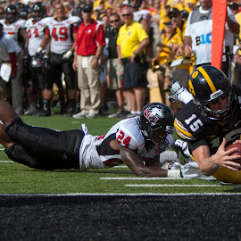 Touchdown! by Louis Brems - Sports & Fitness American and Canadian football ( kinnick stadium, iowa, ncaa, northern illinois huskies, zselect, hawkeyes, iowa city, big 10 )