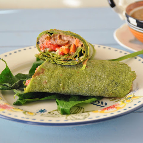 Homemade spinach tortilla wrap and south west black bean Hummus