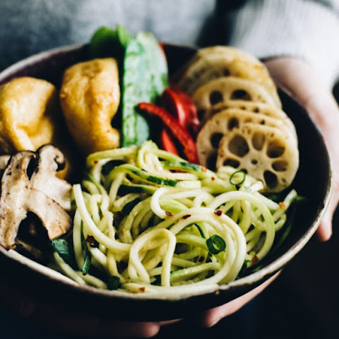 Zucchini Noodle (Zoodles) Bowl with Creamy Peanut Coconut Sauce