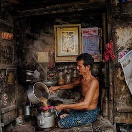 Tea shop by Suman Adhikary - City,  Street & Park  Markets & Shops ( tea, kolkata, street, kumartuli, people )