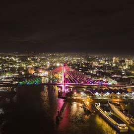 Soekarno bridge by Irfan Firdaus - City,  Street & Park  Night ( travel photography, slow, night, bridge, low light )