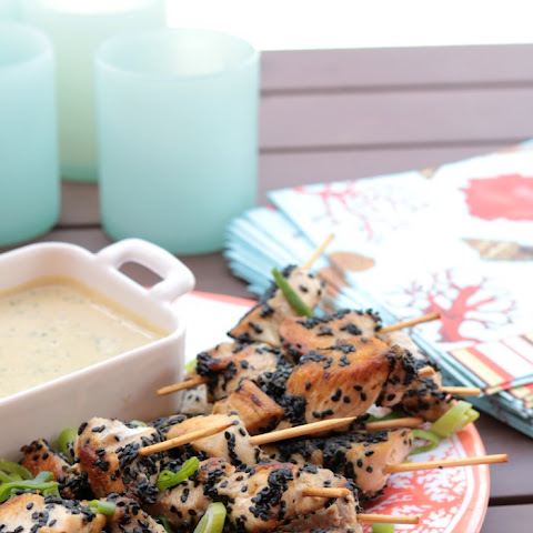 Black Sesame Chicken with Green Herb Tahini Dipping Sauce