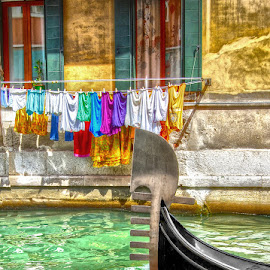 Venice! by Katherine Rynor - City,  Street & Park  Historic Districts ( gondola, venice, windows, canal, washing, colours )
