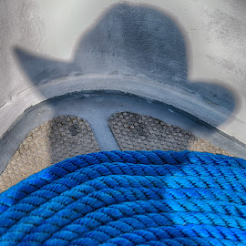 My Shadow ! by Marco Bertamé - Abstract Patterns ( circular, wound up, rope, blue, shadow, round, man, hat )