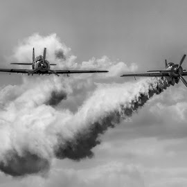 Airshow by Marius Peptan - Transportation Airplanes ( old, plane, black and white, fog, planes, old plane )