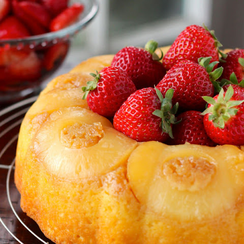 Pineapple Bundt Cake with Sweet Strawberries