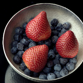BERRY SILVER BOWL by Jim Downey - Food & Drink Ingredients ( bowl, red, blue, silver, strawberries, blueberries, hammered, black )