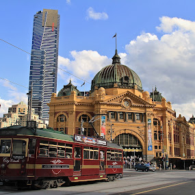Circle Line Tram & Flinders Street Station by Leigh Thomson - City,  Street & Park  Street Scenes ( melbourne, station, australia, buildings, victoria, tram, street scene, flinders street, transportation, city )