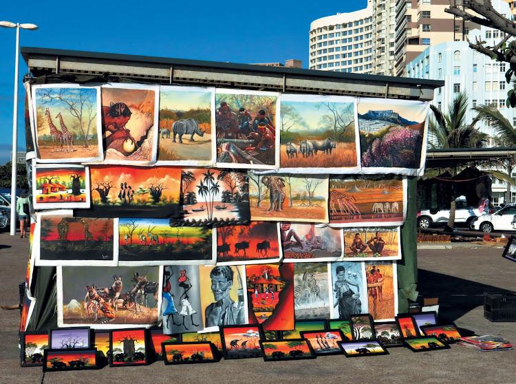 An artist's stall on the beachfront