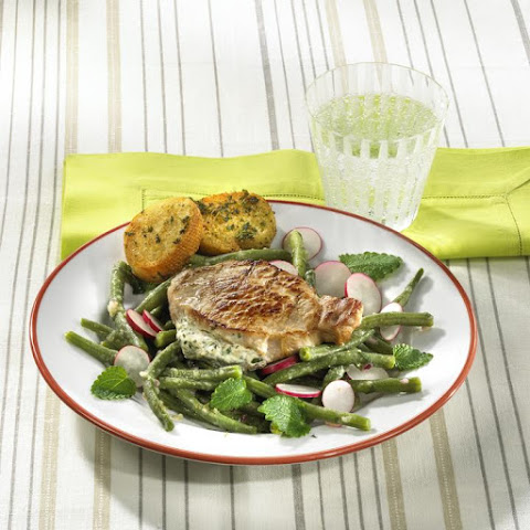 Herbed Cheese Stuffed Pork Cutlets with Green Bean Salad