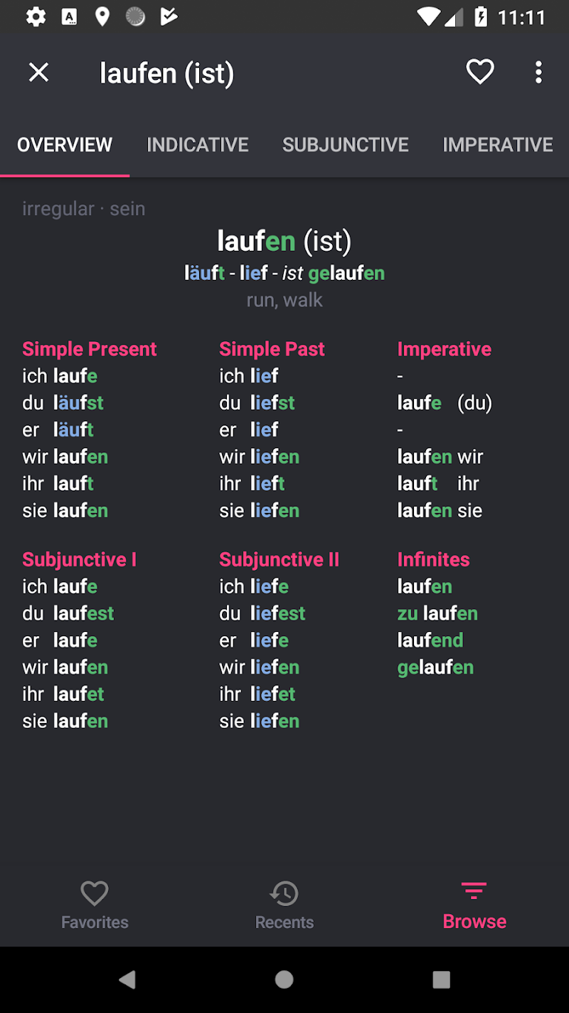 German Verbs Pro: conjugation translation grammar Screenshot 2