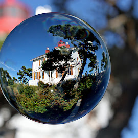 Haunted Lighthouse In A Bubble by Mike Burdic - Artistic Objects Glass ( lighthouse, artistic objects )