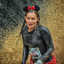 Tough Daisy ! by Marco Bertamé - Sports & Fitness Other Sports ( water, splatter, splash, differdange, 2015, 1145, dotted, volf, daisy, eyes closed, number, luxembourg, muddy, red, strong, woman, lady, brown, no eyes, strongmanrun, determinend )