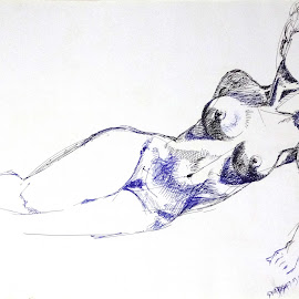 Listening by Biswajit Thakur - Drawing All Drawing