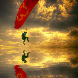Para-sailor by Egon Zitter - Sports & Fitness Other Sports ( eveninglight, mirror, reflection, paraglider, para-sailor, parachute )